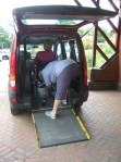 J being stapped into the Popemobile