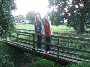 Girls on Beyton Green footbridge