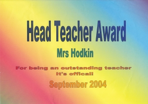 Head Teacher Award Sept 2004