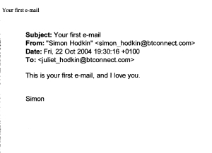 J's First E-mail