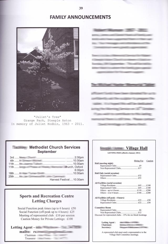 Memorial notice in village magazine