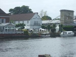 Hotel, river and bridge