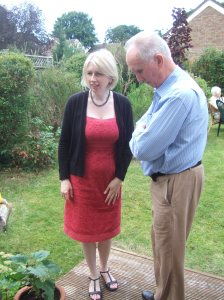 J and her dad, 17 August 2008, garden party to celebrate Maragaret's 70th birthday