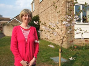 J and her tree, April 2010